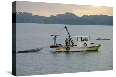 Early Morning Local Fishing Boat, Livingston, Rio Dulce, Guatemala-Cindy Miller Hopkins-Stretched Canvas Print