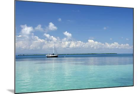 Sailboat in Clear Caribbean Sea, Southwater Cay, Stann Creek, Belize-Cindy Miller Hopkins-Mounted Photographic Print