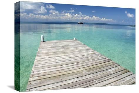 Pier over Clear Waters, Southwater Cay, Stann Creek, Belize-Cindy Miller Hopkins-Stretched Canvas Print