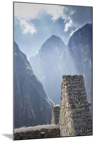 Machu Picchu Stone Walls with Mountains Beyond, Peru-John & Lisa Merrill-Mounted Photographic Print