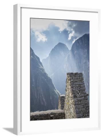 Machu Picchu Stone Walls with Mountains Beyond, Peru-John & Lisa Merrill-Framed Art Print