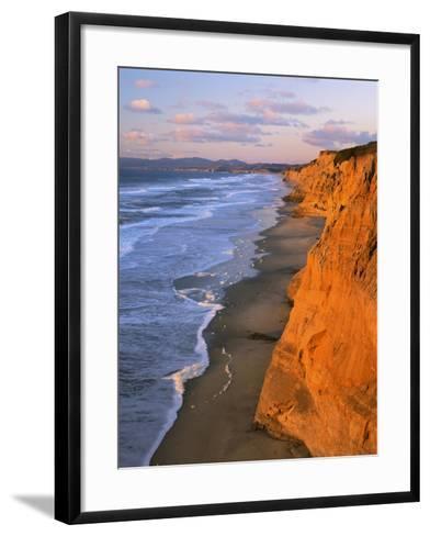 Cliffs at Pescadero State Beach, California, USA-Charles Gurche-Framed Art Print