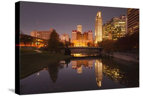Gene Leahy Mall Skyline at Dawn, Omaha, Nebraska, USA-Walter Bibikow-Stretched Canvas Print