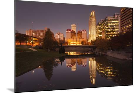 Gene Leahy Mall Skyline at Dawn, Omaha, Nebraska, USA-Walter Bibikow-Mounted Photographic Print
