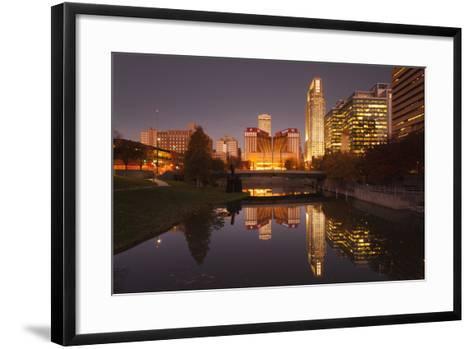 Gene Leahy Mall Skyline at Dawn, Omaha, Nebraska, USA-Walter Bibikow-Framed Art Print