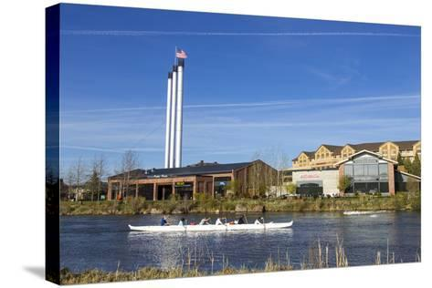 Paddlers on the Deschutes River, Old Mill District, Bend, Oregon, USA-Chuck Haney-Stretched Canvas Print