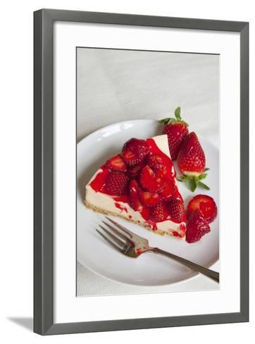 Strawberry Topped Cheesecake on a Round Plate-Brian Jannsen-Framed Art Print