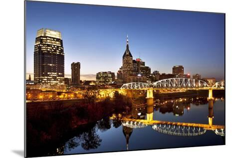 Twilight over the Cumberland River and Nashville, Tennessee, USA-Brian Jannsen-Mounted Photographic Print