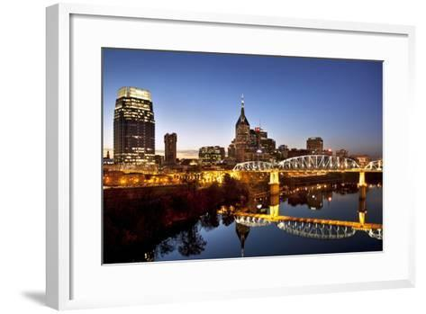 Twilight over the Cumberland River and Nashville, Tennessee, USA-Brian Jannsen-Framed Art Print