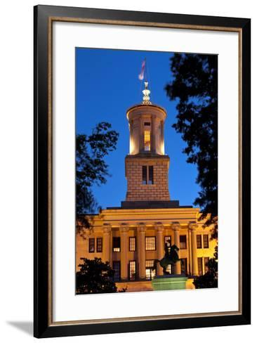 Tennessee State Capitol Building at Dusk, Nashville, Tennessee, USA-Brian Jannsen-Framed Art Print