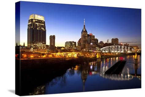 City Skyline at Dusk, Nashville, Tennessee, USA-Brian Jannsen-Stretched Canvas Print