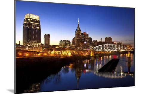 City Skyline at Dusk, Nashville, Tennessee, USA-Brian Jannsen-Mounted Photographic Print