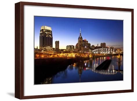 City Skyline at Dusk, Nashville, Tennessee, USA-Brian Jannsen-Framed Art Print