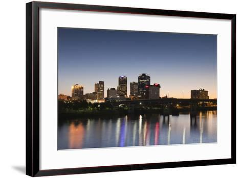 City Skyline from the Arkansas River, Dusk, Little Rock, Arkansas, USA-Walter Bibikow-Framed Art Print