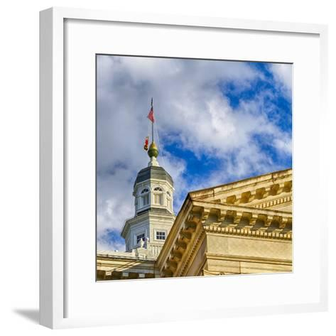 Sunset Light on the State Capitol Building, Annapolis, Maryland, USA-Christopher Reed-Framed Art Print