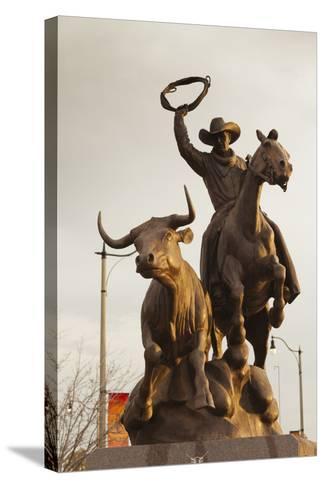 Rodeo Sculpture, Oklahoma City, Oklahoma, USA-Walter Bibikow-Stretched Canvas Print