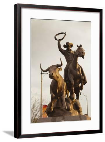 Rodeo Sculpture, Oklahoma City, Oklahoma, USA-Walter Bibikow-Framed Art Print