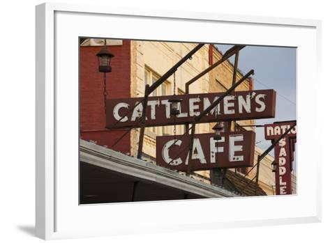 Cattlemen's Cafe Restaurant Sign, Oklahoma City, Oklahoma, USA-Walter Bibikow-Framed Art Print
