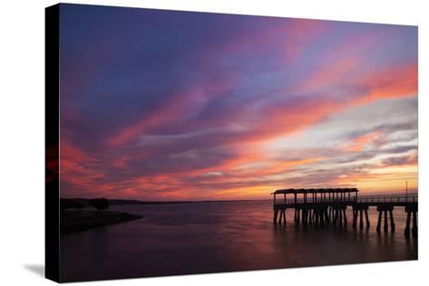 Fishing Pier at Sunset, Jekyll Island, Georgia, USA-Joanne Wells-Stretched Canvas Print