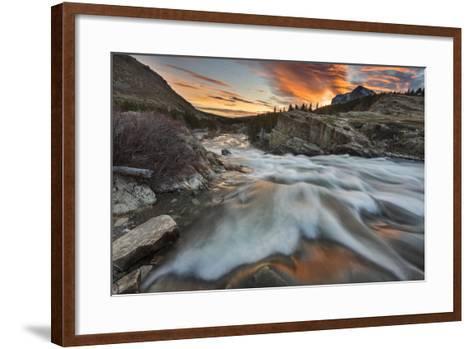 Sunrise Clouds over Swiftcurrent Falls, Glacier NP, Montana, USA-Chuck Haney-Framed Art Print