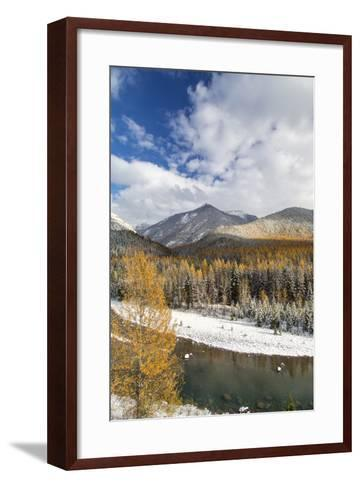 Flathead River in Fall Colors, Glacier National Park, Montana, USA-Chuck Haney-Framed Art Print