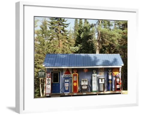 Littleton Historic Gas Station, New Hampshire, USA-Walter Bibikow-Framed Art Print