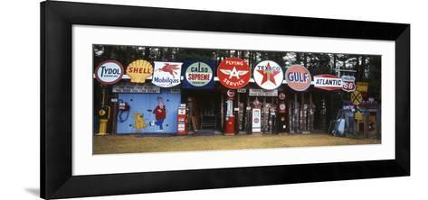 Littleton Historic Gas Tanks and Signs, New Hampshire, USA-Walter Bibikow-Framed Art Print