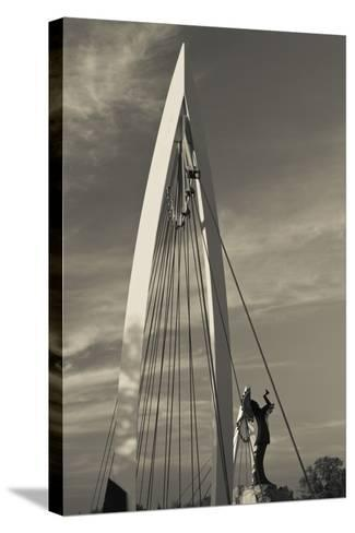 Keeper of the Plains Footbridge, Arkansas River, Wichita, Kansas, USA-Walter Bibikow-Stretched Canvas Print