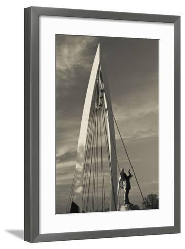 Keeper of the Plains Footbridge, Arkansas River, Wichita, Kansas, USA-Walter Bibikow-Framed Art Print