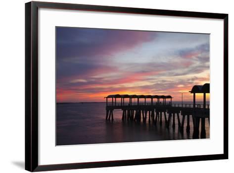 Fishing Pier at Sunset, Jekyll Island, Georgia, USA-Joanne Wells-Framed Art Print