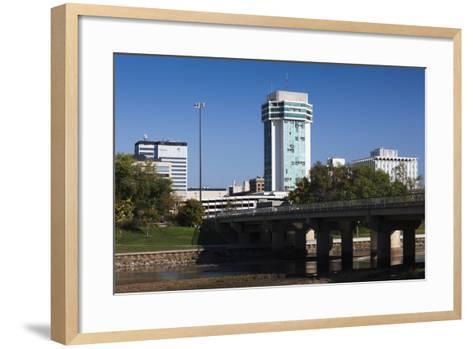 Skyline by the Arkansas River, Wichita, Kansas, USA-Walter Bibikow-Framed Art Print