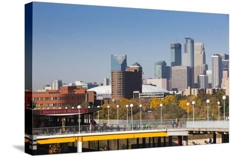 Skyline from the University of Minnesota, Minneapolis, Minnesota, USA-Walter Bibikow-Stretched Canvas Print