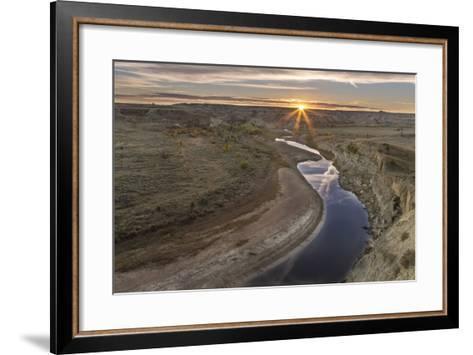 Sunset over the Little Missouri River, North Dakota, USA-Chuck Haney-Framed Art Print