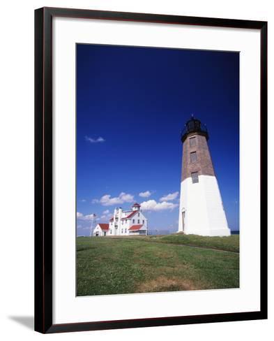 Point Judith Lighthouse, Rhode Island, USA-Walter Bibikow-Framed Art Print