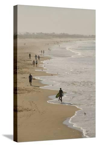 Surfer and People on Pismo State Beach, Pismo Beach, California, USA-Cindy Miller Hopkins-Stretched Canvas Print