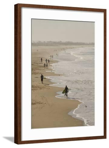 Surfer and People on Pismo State Beach, Pismo Beach, California, USA-Cindy Miller Hopkins-Framed Art Print