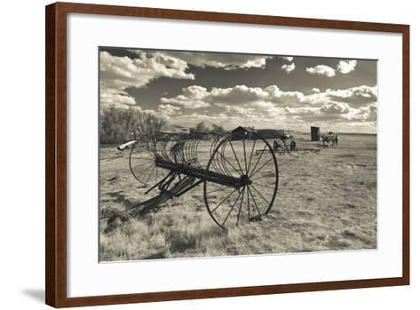 Antique Hay Raker, Prairie Homestead, Cactus Flat, South Dakota, USA-Walter Bibikow-Framed Art Print