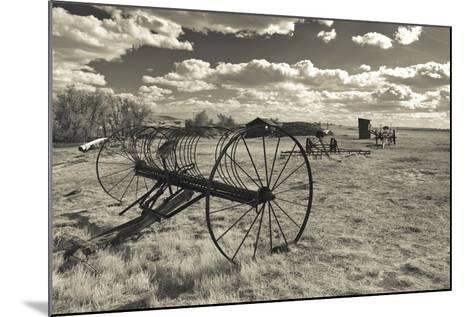 Antique Hay Raker, Prairie Homestead, Cactus Flat, South Dakota, USA-Walter Bibikow-Mounted Photographic Print