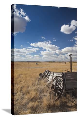 Old Wagon, Prairie Homestead, Cactus Flat, South Dakota, USA-Walter Bibikow-Stretched Canvas Print