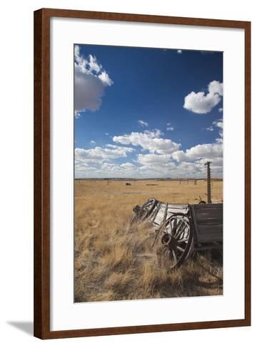 Old Wagon, Prairie Homestead, Cactus Flat, South Dakota, USA-Walter Bibikow-Framed Art Print