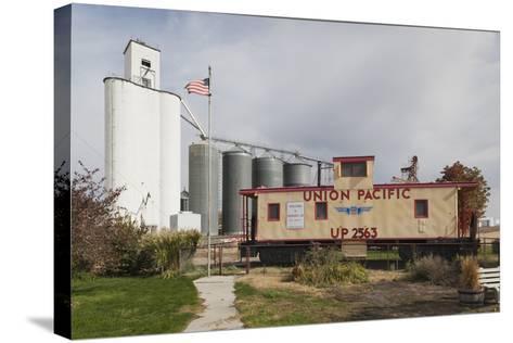 Grain Elevator, Hershey, Nebraska, USA-Walter Bibikow-Stretched Canvas Print