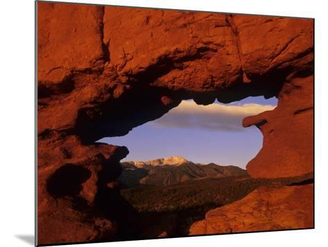 Pike's Peak Framed Through a Rock Window, Colorado, USA-Jerry Ginsberg-Mounted Photographic Print