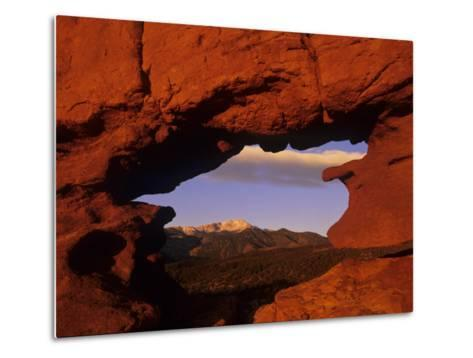 Pike's Peak Framed Through a Rock Window, Colorado, USA-Jerry Ginsberg-Metal Print