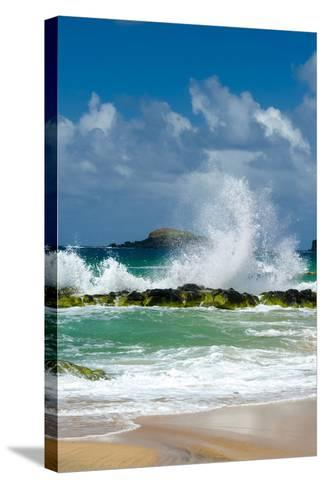 Waves Breaking on the Rocks at Kauapea Beach, Kauai, Hawaii, USA-Richard Duval-Stretched Canvas Print