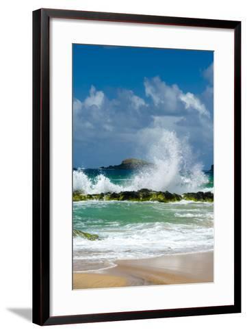 Waves Breaking on the Rocks at Kauapea Beach, Kauai, Hawaii, USA-Richard Duval-Framed Art Print