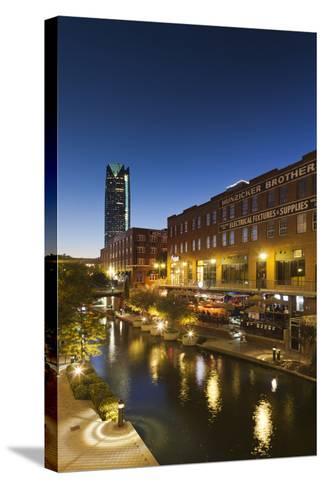 Entertainment District, Bricktown, Oklahoma City, Oklahoma, USA-Walter Bibikow-Stretched Canvas Print