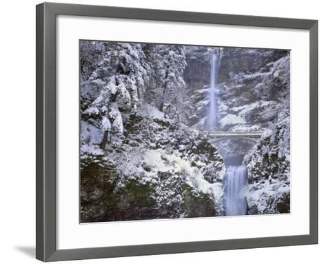 Winter Scenic at Multnomah Falls, Columbia River Gorge, Oregon, USA-Jaynes Gallery-Framed Art Print