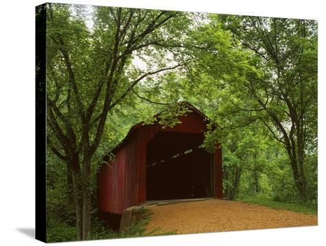 Sandy Creek Covered Bridge, Jefferson County, Missouri, USA-Charles Gurche-Stretched Canvas Print