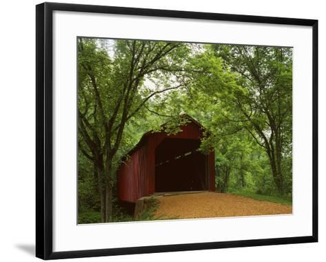Sandy Creek Covered Bridge, Jefferson County, Missouri, USA-Charles Gurche-Framed Art Print