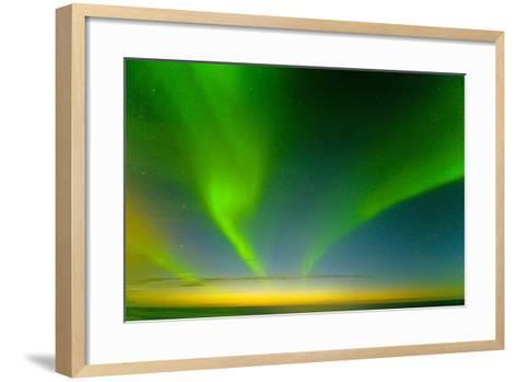 Northern Lights over the Sea, Beaufort Sea, ANWR, Alaska, USA-Steve Kazlowski-Framed Art Print